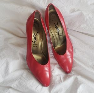 YSL Yves Saint Laurent Red Leather Heels Shoes